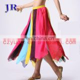 Tribal rainbow colorful chiffon professional belly dance skirt costume Q-6016#
