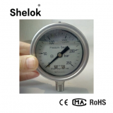 250bar high temperature bourdon tube liquid filled pressure gauge stainless steel