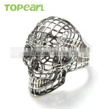 Topearl Jewelry Classic Stainless Steel Ring Hollow Skull Ring for Men Punk Style MER430