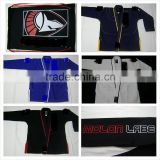 BJJ Gis with Custom embroidery & labels, contrast stitching, drawstring, loops, side vents (Red, White, Blue, Black, Navy Blue,)