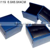 Mid-Night Blue Printed Lamination Paper Covered Wood Cufflink Gift Packing Box W1119