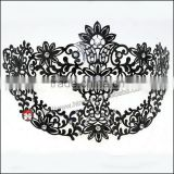 venetian mask wholesale Luxury Elegant Silver Metal Laser Cut Mask with Rhinestones Crystal