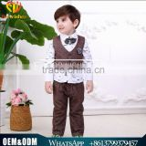 Wholesale New arrival British Striped vest three-piece baby boy set plaid shirt with tie baby boy clothes suit