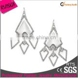 Newest Arrival Fashion Rhombus Large Chandelier Earrings With Many Crystal Rhinestone White Stone