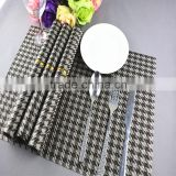 Fashion popular grey grid pvc Placemat modern plastic hotel heat insulation pad napkin dining table mat coasters