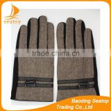 2016 fashion and cheap men's gloves made by spandex velvet and Herringbone grid cloth with buckle