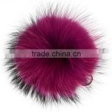 Top auality facotry direct sale 15cm colorful animal fur pom poms keychain New genuine raccoon fur ball key ring