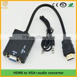 Manufactory price hdmi to vga audio wall plate converter with audio video supported