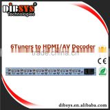 6channel Broadcast digital headend dvb-t/dvb-s2 to av and hdmi biss decoder for catv analog and digital hotel tv system
