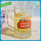 Wholesale Promotional Crystal Glass Mug Tumbler with Decal Printing Glass handle Mug Stein Decorative Beer Mug Cup Glass