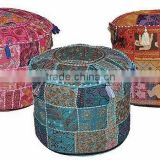 Round Patchwork Embroidered Ottoman Pouf Cover indian Traditional Ottoman Pouf Cover