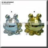 chrome plated ceramic frog coin collector