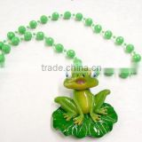 Bobbing Beads Poly Medallion Frog Mardi Gras Beads Plastic Necklace