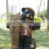 Welcome cute outdoor resin carved grizzly bear statues