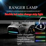2016 12V flexible waterproof car led knight rider strip light bar colorful symphony rider lights with wireless remote controller                                                                         Quality Choice