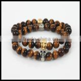 Fashion natural yellow tiger eye round stone beads men bracelet charm silver and gold skull head women bracelet