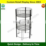 2-Tier Wire Dump Bin for Floor Displays 16-Inch Round Retail Storage Baskets, Black YM6-162