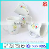 whole sale ceramic v shape mug for promotion with customized logo/Ceramic V shape coffee mug with decal