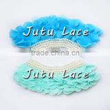 11cm pearls fabric flower garment accessories, ruffle chiffon collars