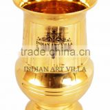 IndianArtVilla Handmade Vertical Lining Design Brass Glass Cup 200 ML - Serving Drinking Water Home Hotel Restaurant Tableware