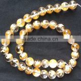 12mm natural round AA grade rock crystal carved golden turtle beads for jewlery