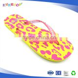 Summer beach custom printed outdoor EVA flip flop with diamond strap yellow slippers for women shoes