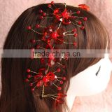 fashion 24CM red X shape red crystal beaded wedding hair vines Vintage Bride Hair Banding for collection bridal head wreath