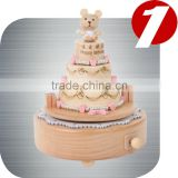 Birthday cake music box with bears and balloon creative wood wooden Gift Nature music box girls birthday Christmas