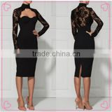 Black Long Sleeve Knee Length Sexy Lace Bandage Dress