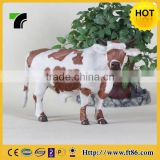 Unique Gift Realistic Farm Animal Fur Covered Plastic Cow Figurine