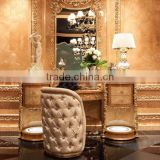 Antique Wooden Marquetry Dressing Table, Luxury Wood Carved Dresser With Mirror, Golden Furniture Queen Anne Bedroom Set