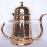 BPA free Solid Copper hammered finish polished kettle for tea, coffee, water, brew