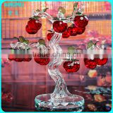 China custom made k9 red crystal apple tree for home decoration