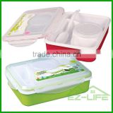 multifunctional BPA free plastic bento lunch box 4 compartments for adults with soup bowl