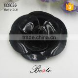Factory handmade ladies camellia faux leather flower for shoes
