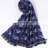 Blue stripe fashion silk men's pashmina shawl