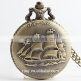 Large Antique Pocket Watch Vintage Sailing Everything is going smoothly Unisex Quartz Watch With Chain