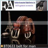 BT0633 Latest Men's Casual Braided Knitted Genuine Leather Belt with Alloy Pin Buckle