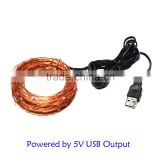 flexible 5v usb powered copper wire led string light , rgb copper wire led string lights