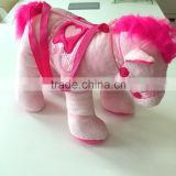 wholesale colorful plush stuffed horse toy bag with fancy bridle and saddle for girl gift