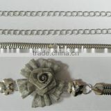 SILVER COLOR Metal Chain Belts with Rhinestones, Cloth Acce Silver Metal Belts with Stone
