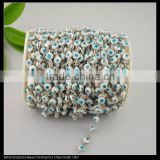 LFD-0020C ~ Wholesale Rosary Style Chains Jewelry Finding 6MM White Color - Evil Wire Wrapped Beaded Chain Jewelry Making
