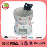 Ceramic mini chocolate fondue set with 4pcs skewer