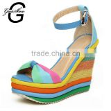 New Summer Sexy Bohemia Casual Rainbow Peep Toe Platform Sandals For Womens Wedges Sandalias Plataforma Shoes High Heels