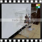 2016 High quality Household Acrylic/plexiglass/ PMMA Transparent/clear carved hand cart/trolleys with 2 tiers/ layers & 4 wheels