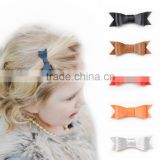 Hot-sales kids leather bow hair clip pretty boutique solid leather bow for girls CB-3680
