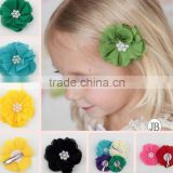 Hot-sales colorful flower hair clip fancy girl hair flower with clip !fashion kids hair accessory CB-3369
