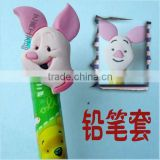 Directly Factory custom lovely Pink Pig PVC pencil charm