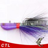 High quality CFF002 bucktail jig head lead head fishing skirt with hook FOR FISHING IN STOCK