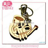 Wood key chain with French horn shape ( Wood gift in laser engraving)